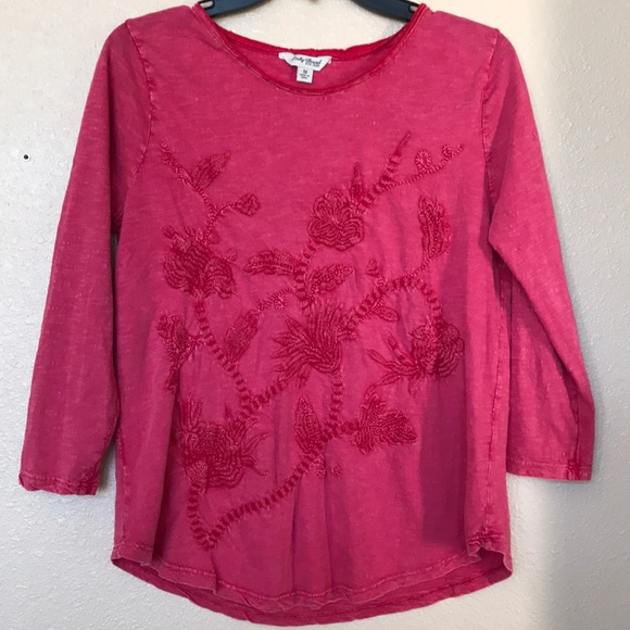 bf16a18be4e Lucky Brand Red Floral Embroidered 3 4 Sleeve Tee